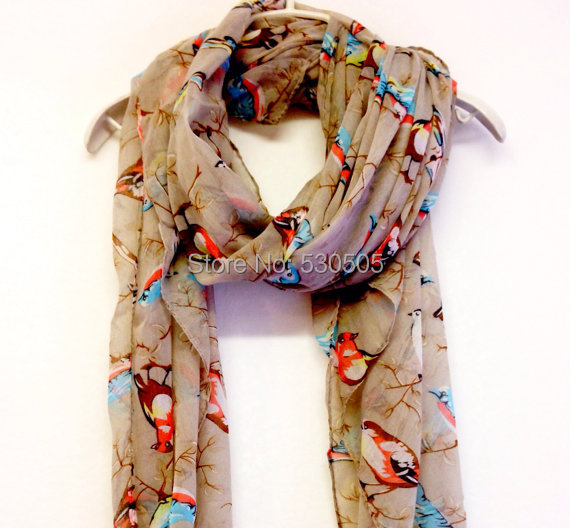 Light Grey Birds Spring Scarf Summer Scarf christmas gift