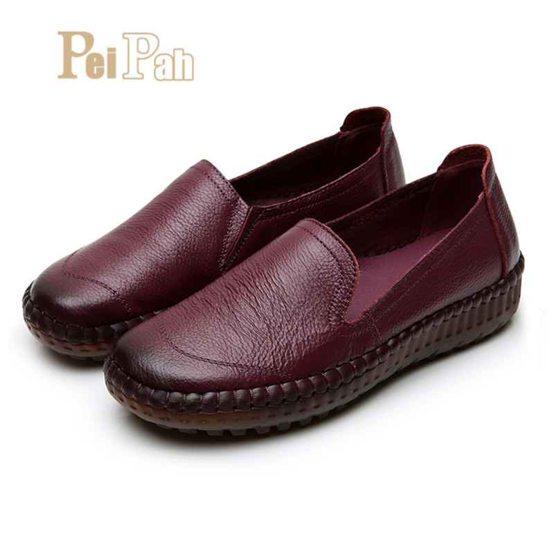 PEIPAH Handmade Retro Women Flats Shoes Genuine Leather Espadrilles Women Leather Female Flat Loafers Shoes Slip On Sneakers