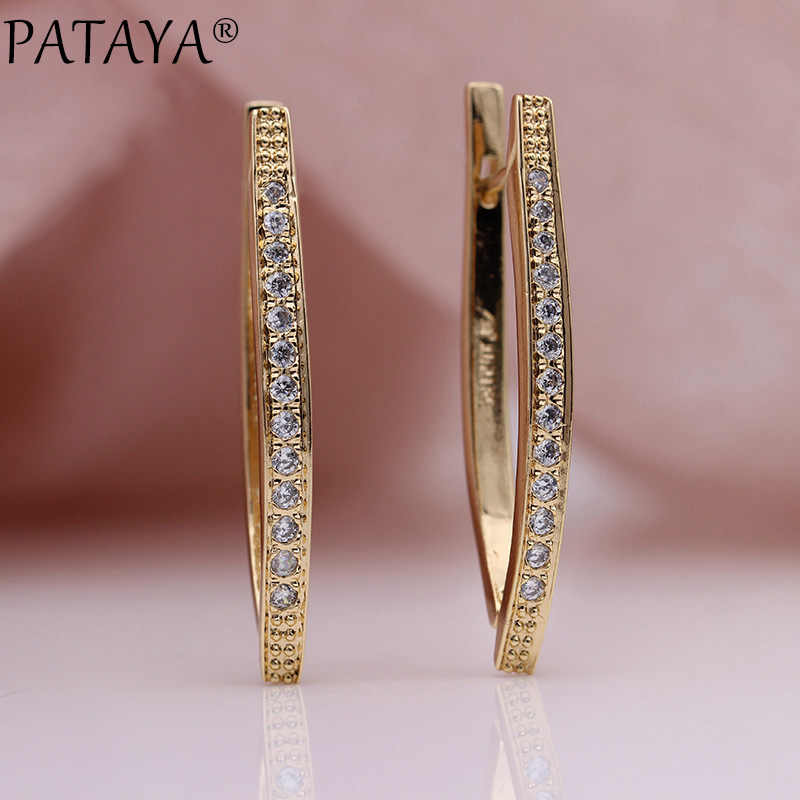 PATAYA New V Shape Long Earrings For Women 585 Rose Gold Natural Zircon Dangle Earrings Girl Wedding Party Glossy Fine Jewelry