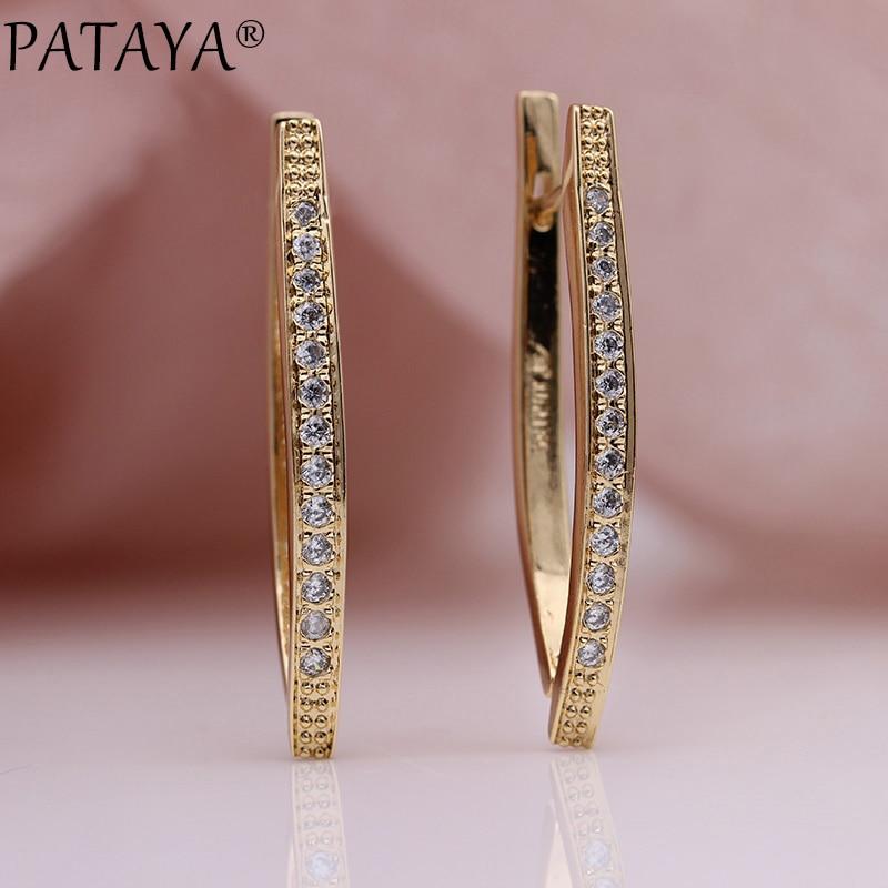 PATAYA New V Shape Long Earrings For Women 585 Rose Gold Natural Zircon Dangle Earrings Girl Wedding Party Glossy Fine Jewelry