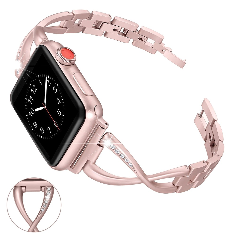 Para Apple Watch Band 38mm 42mm las mujeres del diamante del Rhinestone señoras de la manera reloj inteligente banda de Metal para dropshipping