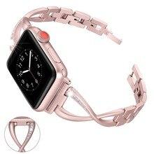 Для Apple Watch группа 38 мм 42 мм горный хрусталь алмаз Для женщин женская Smart часы метал группы для дропшиппинг