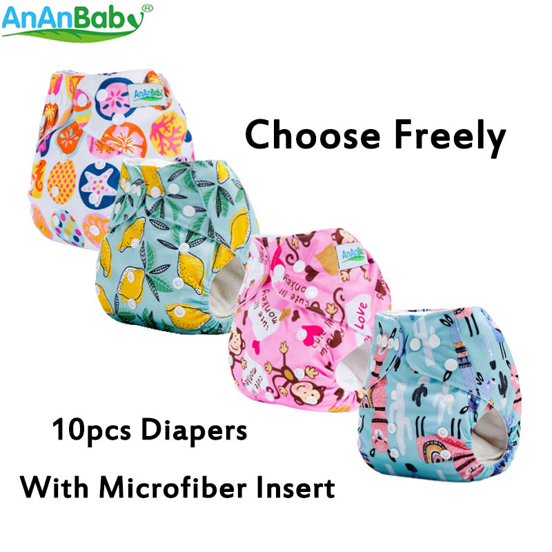 AnAnBaby 10pcs Per Lot Carton Prints Baby Cloth Diaper Reusable Washable Diaper Nappies With Microfiber Inserts