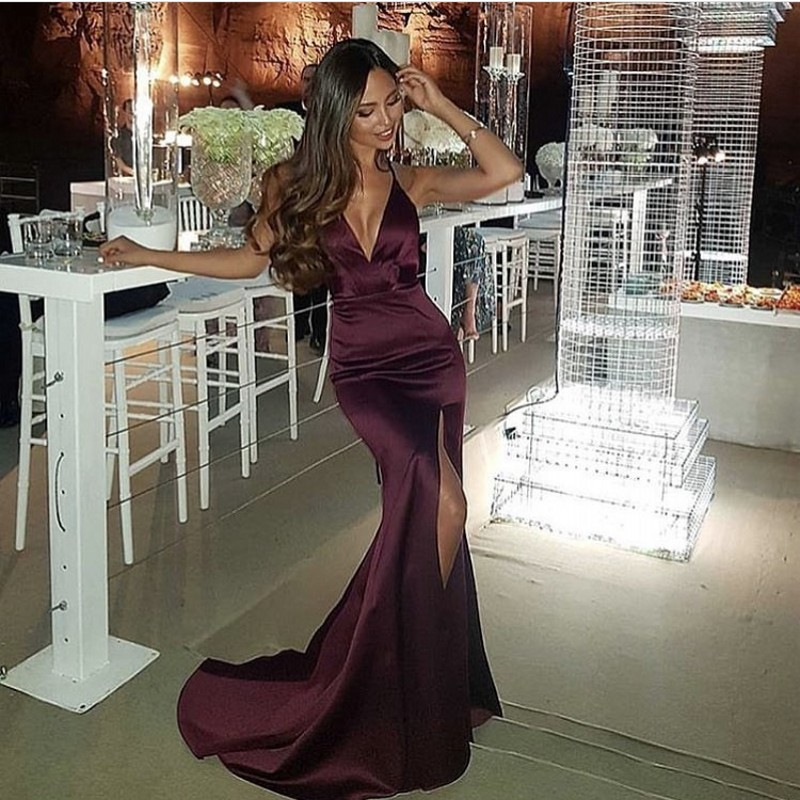 Cinderella Brgundy Spaghetti Straps Backless V-Neck Mermaid Silk Satin   Prom     Dresses   Open Back Court Train Party Gown For   Prom