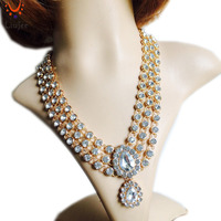 LiuJee New Indian Gold Plated Kundan Stone Necklace Women Wedding Bridesmaids Party Prom NK 018