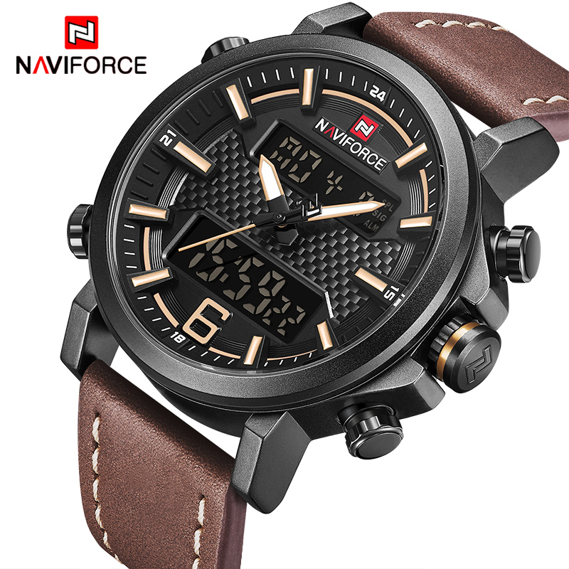 NAVIFORCE Männer Sport Uhren Mode Luxus Marke männer Quarz Digitale Leder Wasserdichte Militär Armbanduhr Relogio Masculino