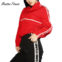 Monster FItness Women Autumn Red Windproof Yoga Tops Sportswear Fitness T Shirt Running Jacket Gym Sports