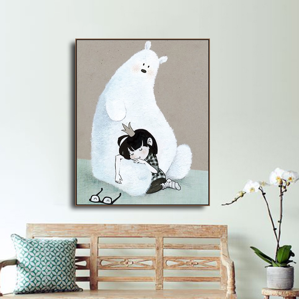 Laeacco Canvas Calligraphy Painting Cartoon White Bear and Little Girl Posters Prints Wall Art Picture Living Room Home Decor in Painting Calligraphy from Home Garden