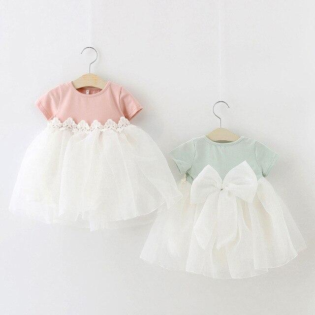 Новый 2016 летом большой лук ребенка платье принцессы милый кружева девушки платье на 1 год рождения платье новорожденной девочки младенцев одежда