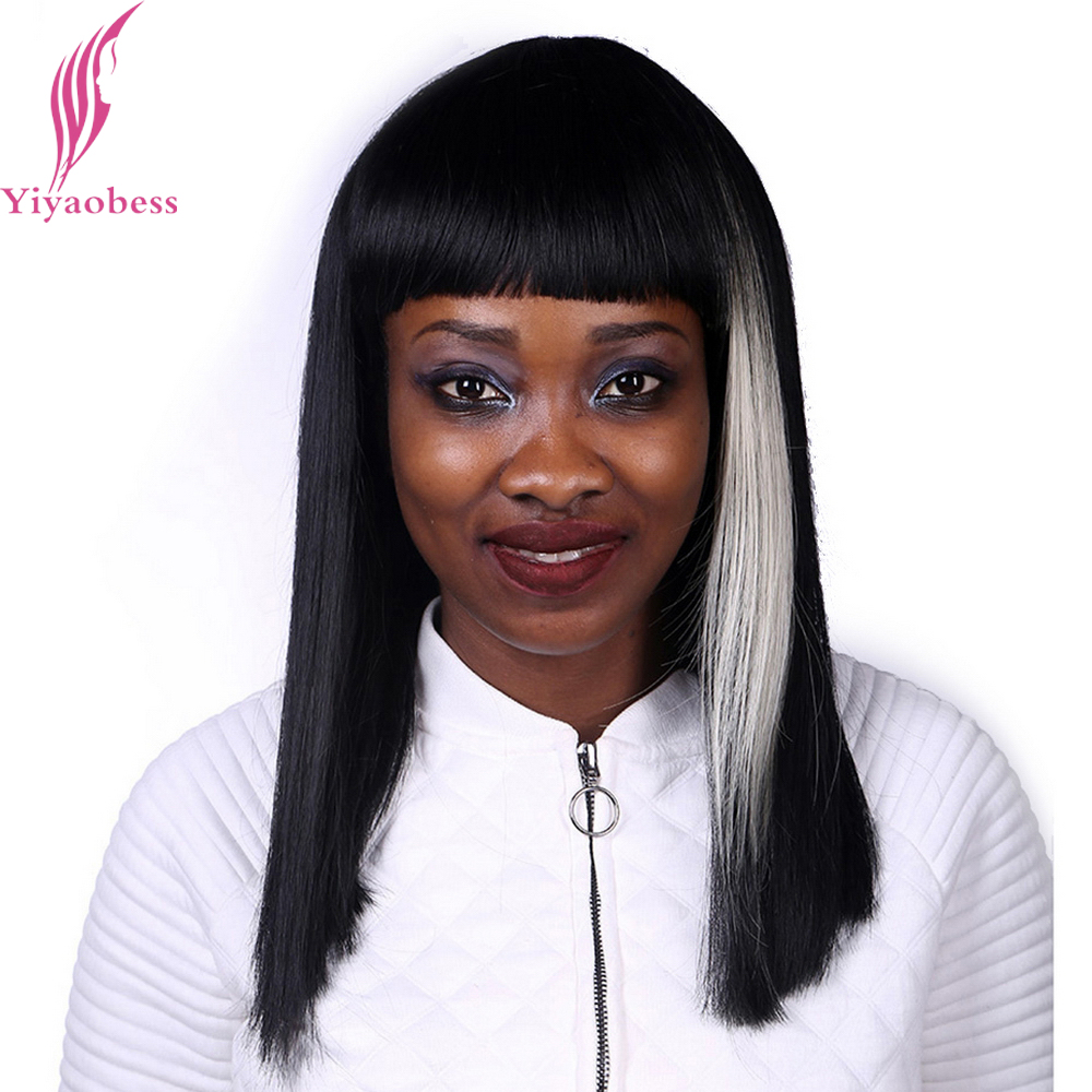 Yiyaobess 45cm Long Straight Wig With Bangs Heat Resistant Synthetic White Highlights On Black Hair African American Bob Wigs
