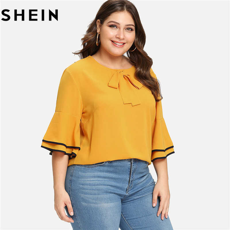 SHEIN Yellow Tiered Layer Ruffle Half Sleeve O Neck Plus Size Casual Woman Blouse 2018 Office Lady Bow Front Solid Top Shirts