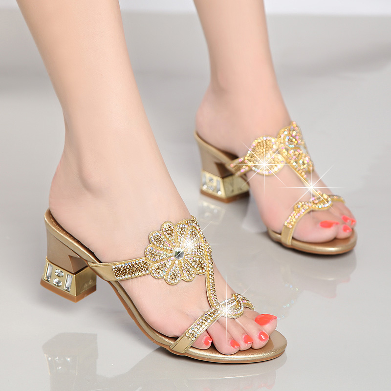 f0dbad2e4fa Summer Shoes New Ladies Chunky Heel 6.5 CM Sexy Crystal Rhinestone Design  Women Shoes gold 35