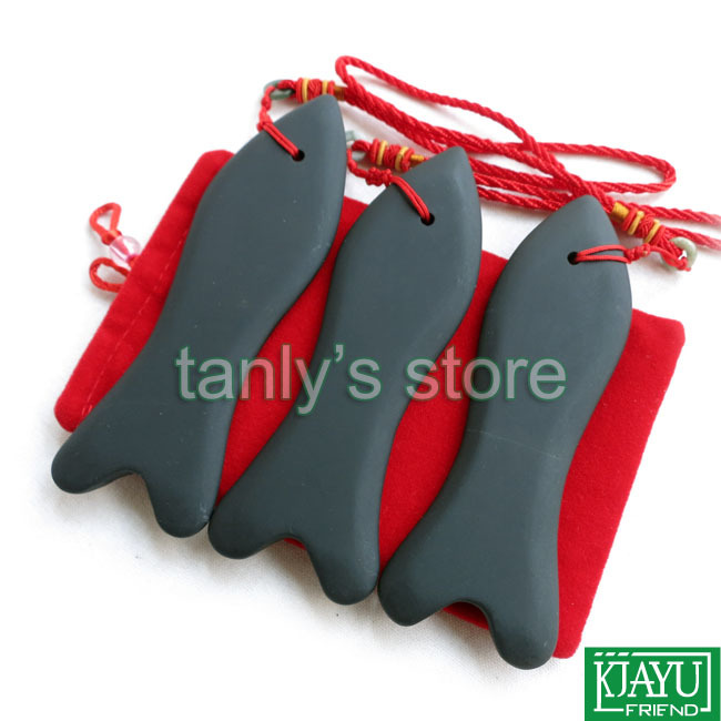 Gift bag chart Wholesale Retail Traditional Acupuncture Massage Tool big Fish Guasha Board Natural black bian stone in Massage Relaxation from Beauty Health