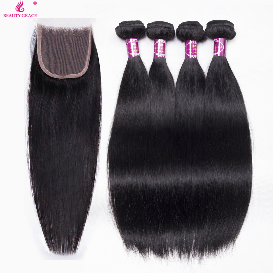 Beauty Grace Brazilian Straight Hair With Lace Closure Non Remy Brazilian Human Hair Extensions 4 Bundles With Closure