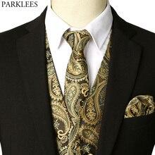 Мужская жилетка золотого цвета, галстук с карманом, платок, новинка, брендовый приталенный смокинг, мужские вечерние жилеты для свадьбы, Chaleco Hombre
