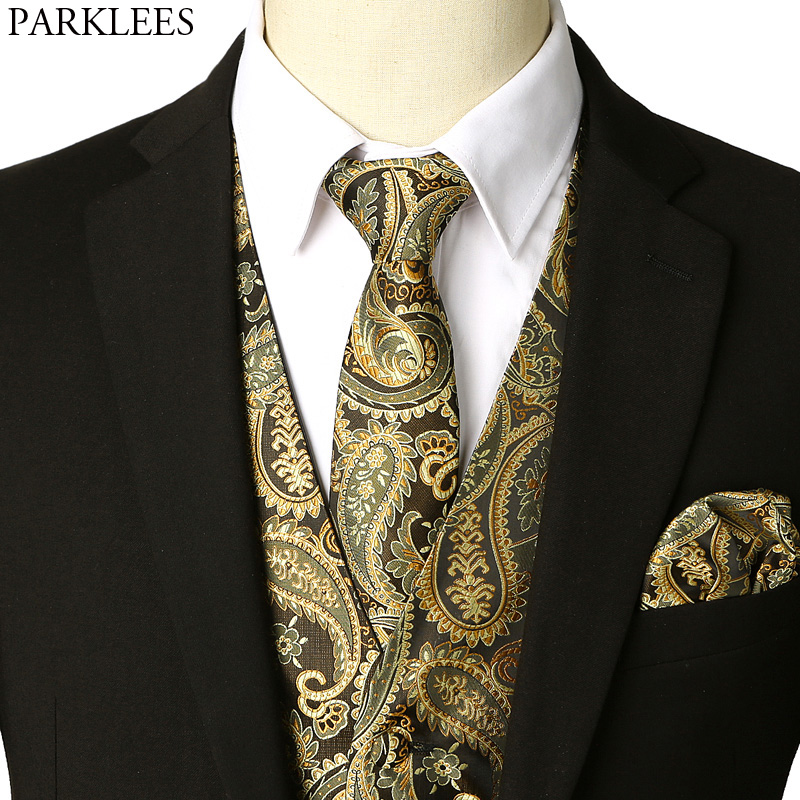Men's Gold Waistcoat Vest Necktie Pocket Hankerchief 2018 Brand New Slim Fit Tuxedo Vest Male For Party Wedding Chaleco Hombre