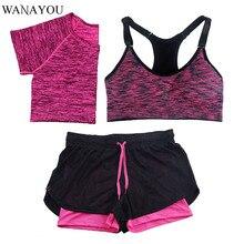 WANAYOU 3 Pieces Women font b Fitness b font Yoga Set T Shirt Bra Shorts Sport