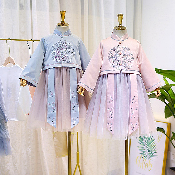 5460 Chinese Embroidery Princess Baby Girl Dress Christmas Fall Party Wedding Kid Dress For Girl Wholesale Thanksgiving Clothes