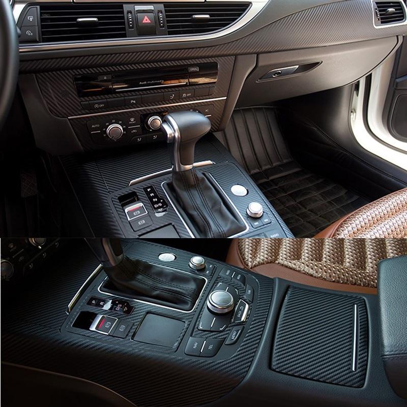 Pour Audi A7 2011-2018 panneau de commande Central intérieur poignée de porte 3D/5D en Fiber de carbone autocollants accessoires de style de voiture - 5
