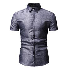 New model Shirts for Men Summer Blouse Slim fit Blue Black Camisa masculina Mens dress Short sleeve Solid color