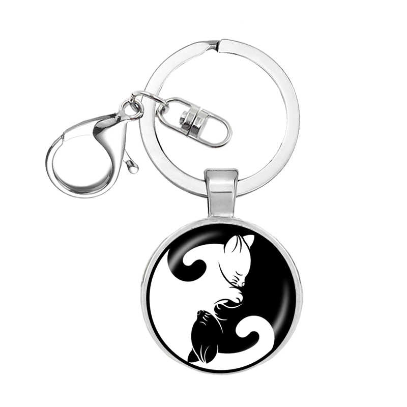 Черно-белые парные брелки для ключей титановые стальные подвески «кошка» для животных Женские Мужские Ювелирные украшения для влюбленных мальчиков и девушек Подарок