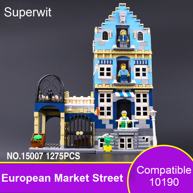 Superwit New Lepin 15007 Factory City Street European Market Model Building Block Set Bricks Kits Compatible 10190 Children Toys босоножки sisley sisley si007awqdi32