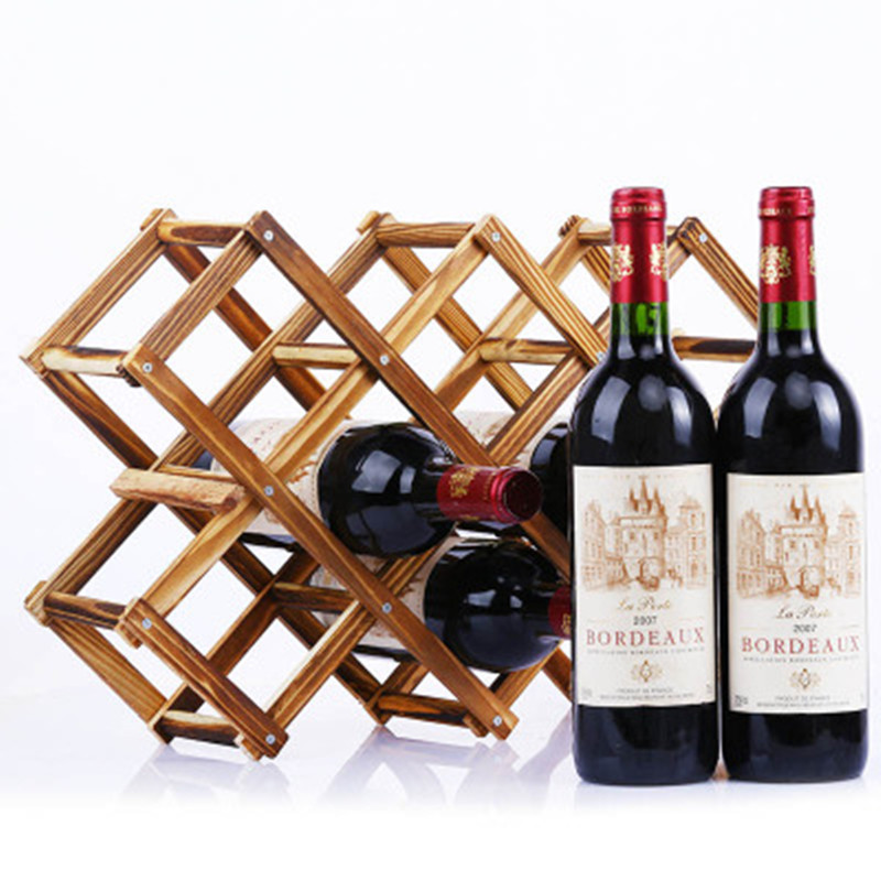 2019 Wooden Red Wine Rack 3 6 10 Bottle Rack Folding Wooden Display Stand Solid Shelf Exhibition Organizer Hot Sale in Wine Racks from Home Garden