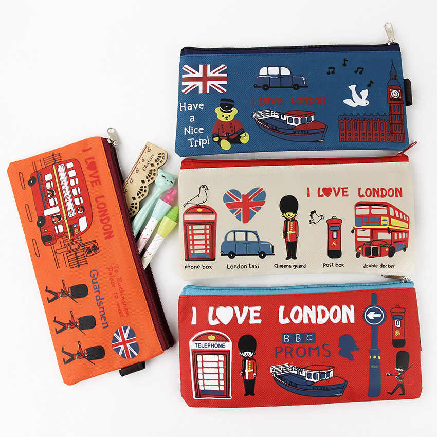 Kawaii I Love London пенал солдат Оксфорд Пенал футляр для файлов Держатель складские принадлежности Школьные принадлежности студенческий подарок