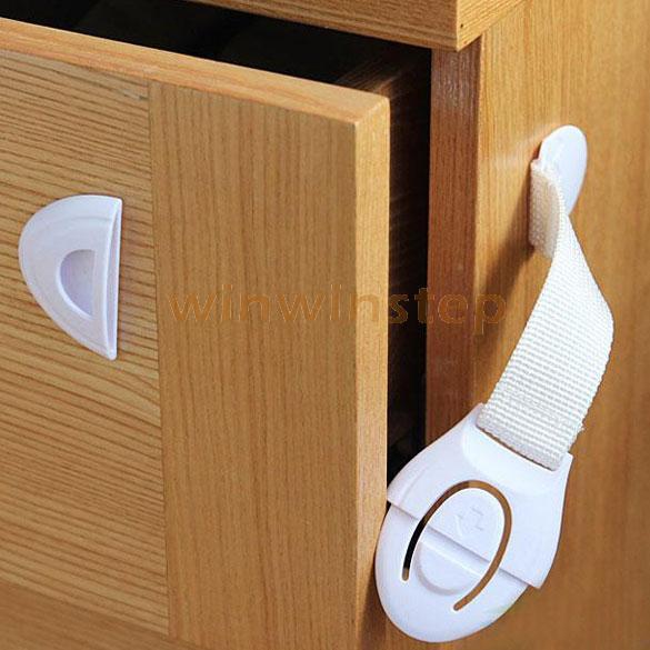 Bébé Sécurité Tiroir Ou de Toilette Serrure Multi-fonction Armoires Porte Ambré Tissu Ceinture Accessoires De Sécurité Blanc