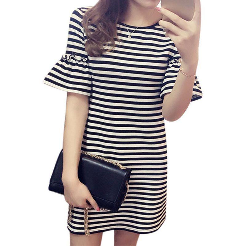 Fashion Summer Women Casual Dress Ruffles Pencil O Neck Striped Short Flare Sleeve