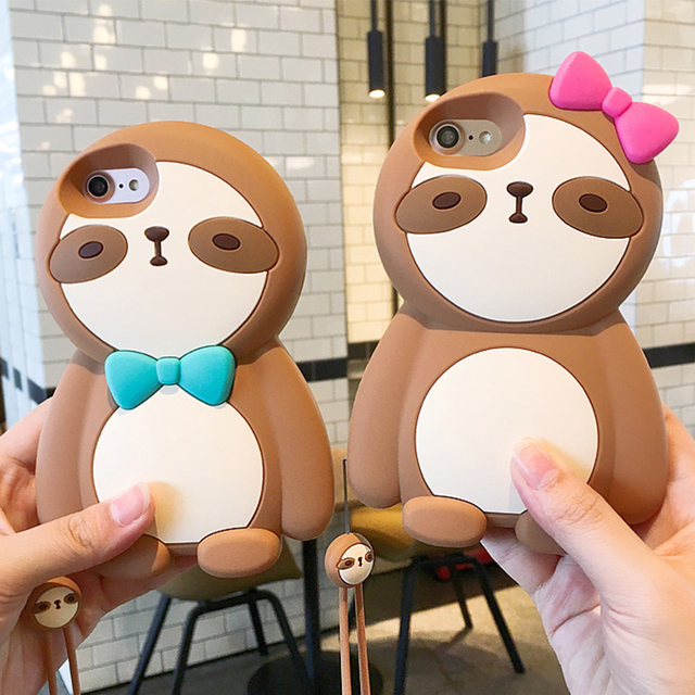 Silicone Cute Sloth Phone Case For iPhone