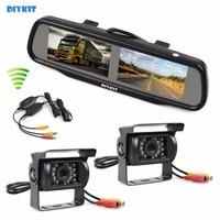 Dual 4 3 Inch Screen TFT LCD Rearview Car Mirror Monitor 2 X CCD Waterproof Car