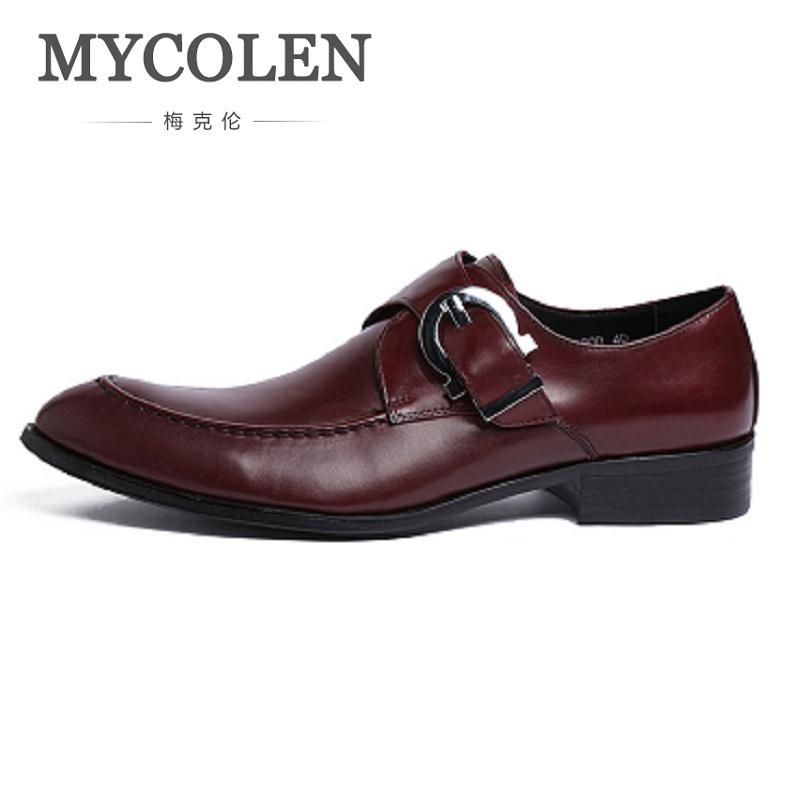 MYCOLEN New Genuine Leather Men Dress Shoes High Quality Oxford Shoes For Men Lace-Up Business Wedding Men Shoes Ayakkabi high quality men flats casual new genuine leather flat shoes men oxford fashion lace up dress shoes work shoe sapatos