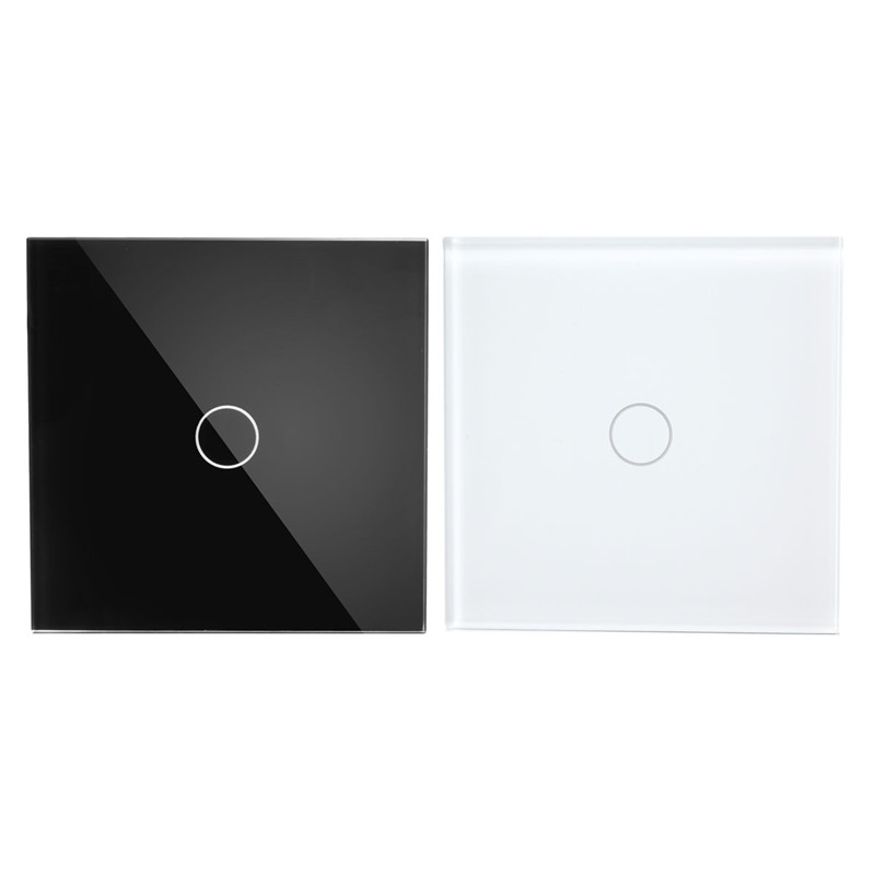 Touch Switch, 2 Way 1 Gang, Black White Crystal Glass Switch Panel, Wall Light Touch Screen Switch, 110-220V AC smart home eu touch switch wireless remote control wall touch switch 3 gang 1 way white crystal glass panel waterproof power
