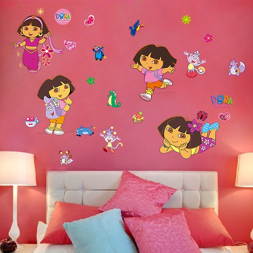 Lovely Diy Cartoon Dora Wall Stickers Kids Rooms Removable Art Decals Home Decor Vinyl
