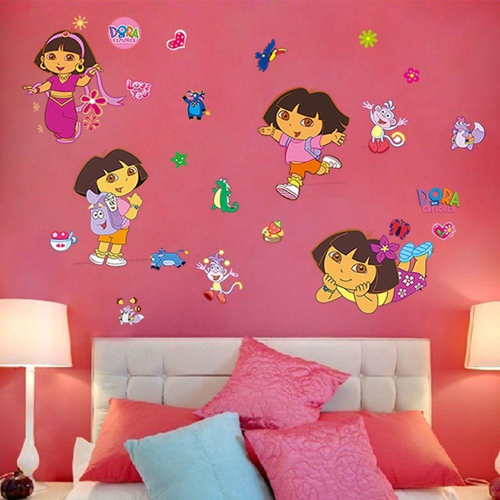 Lovely DIY Cartoon Dora Wall Stickers For Kids Rooms Removable Art Decals  Home Decor Vinyl Nursey