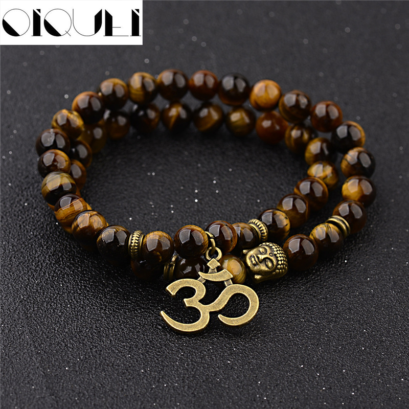 OIQUEI Antique Yoga Om Charm Metal Pendant Buddha Men Bracelet Jewelry 2018 Tiger Eye Stone Lava Rock Buddhist Prayer Bracelets