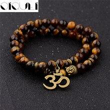 OIQUEI Antique Yoga Om urok wisiorek metalowy budda mężczyzn bransoletka biżuteria 2018 tygrysie oko kamień Lava Rock buddyjski modlitwa bransoletki
