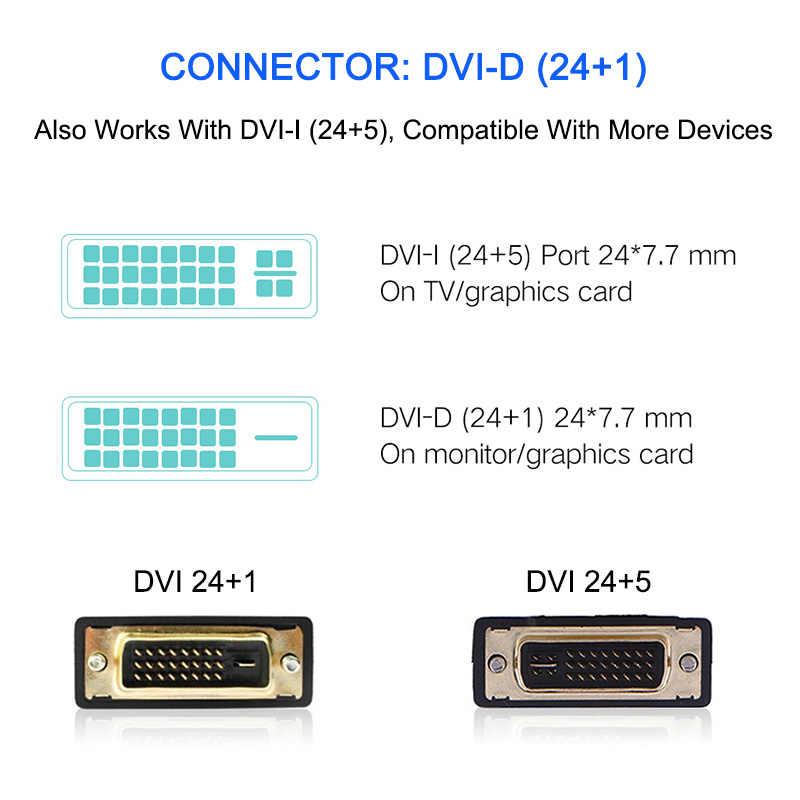 De alta velocidad HDMI a DVI 24 + 1 Adaptador de pin chapado en oro hombre DVI-D a macho Cable HDMI para HDTV 1080P HD PC 0,5 m 1m 2m 3m 5m