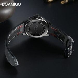 Image 2 - BOAMIGO יוקרה למעלה מותג גברים קוורץ שעון יצירתי אופנה מזדמן ספורט עור שעון יד תאריך אוטומטי שעון relogio masculino