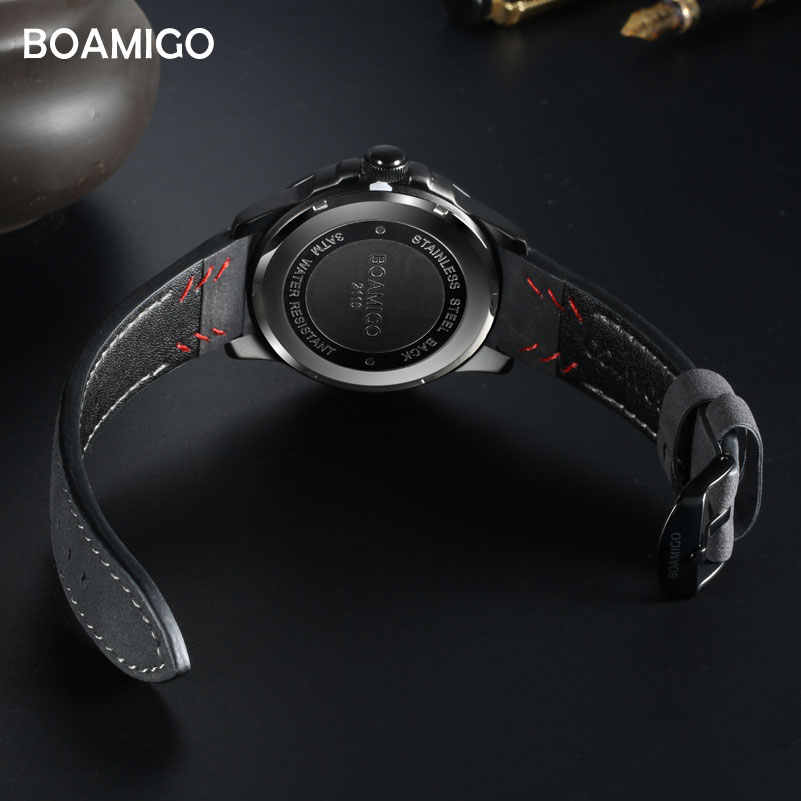 Reloj de cuarzo para hombre de marca superior de lujo BOAMIGO reloj de pulsera de cuero deportivo casual de moda creativo reloj automático de Fecha
