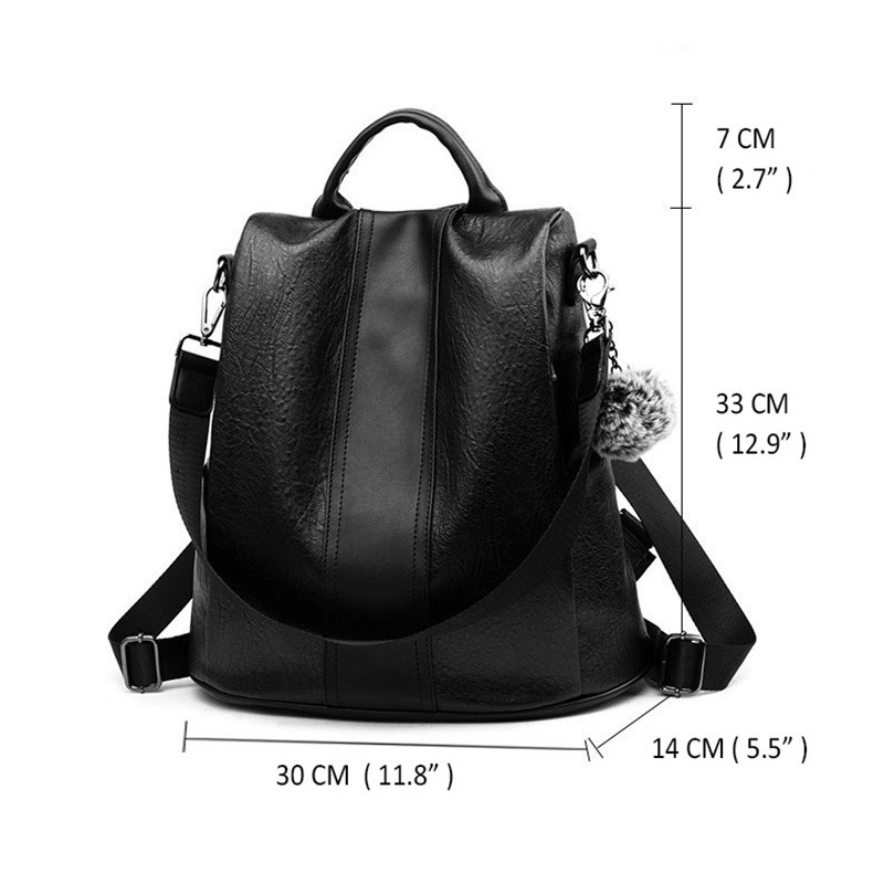 Pu Leather Women Backpack Fashion School Bags For Teenager Girls Large Casual Anti-theft Black Brown Travel Backpacks #6