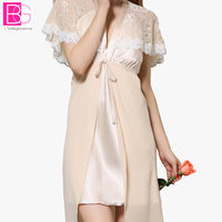 Sexy V Neck Lace Nightgown Princess Sexy Home Dress Comfortable Elegant Sleepwear For Women Chemise De