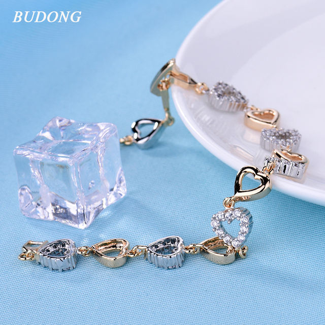 BUDONG Fashion Heart Shaped Crystal Hand Chain Bracelet for Women Silver/Gold-Color Bangle Engagement Jewelry