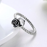 Valentine S Gifts Black Rose Vintage Real 925 Sterling Silver Flower Wedding Women Jewelry Ring Size