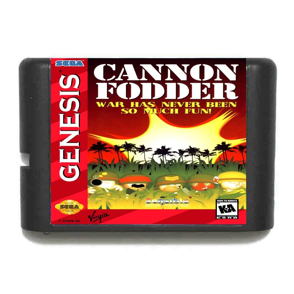 Cannon Fodder Game Cartridge Newest 16 bit Game Card For Sega Mega Drive / Genesis System