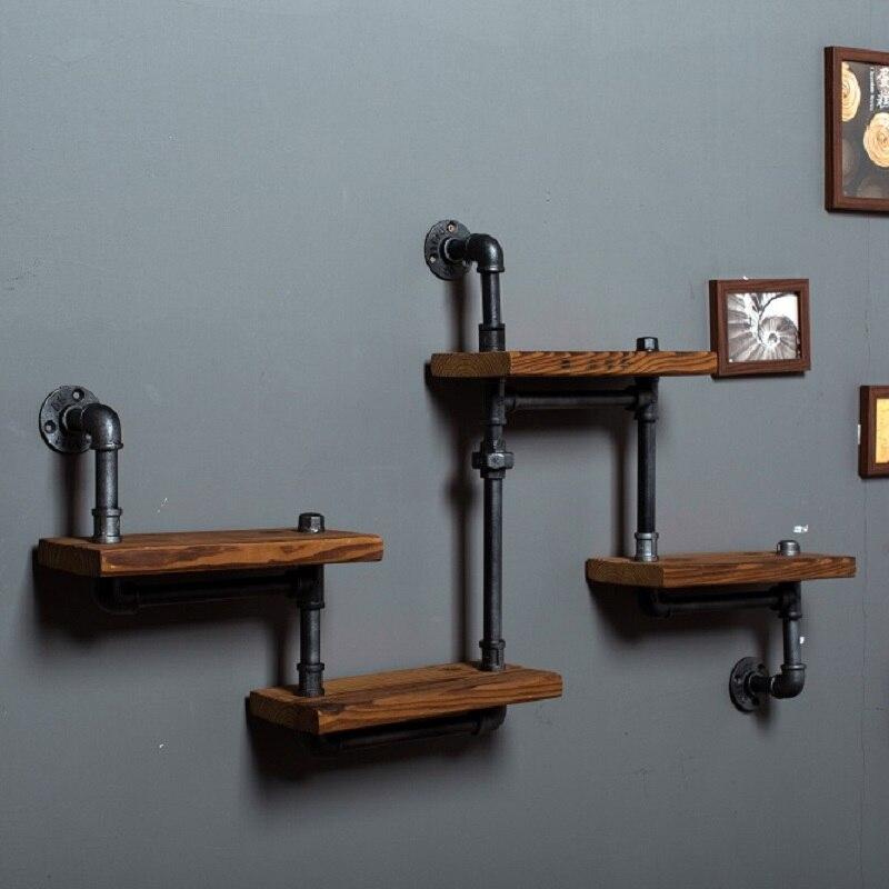 Prateleira de ferro madeira país da américa para fazer o antigo retro prateleira vitrine tubos água industrial estante Shelf-Z29