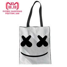 Shopping Bag Fashion Women s Handbags Marshmello Girls Tote Bag Casual Shoulder  Bags canvas handbag Helmet Junior bfe0fd2d10df8