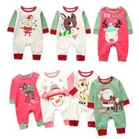 2018 Christmas Newborn Baby Reindeer Rompers Full Sleeved Toddler Girls Jumpsuits Autumn Winter Infant Boys Animal