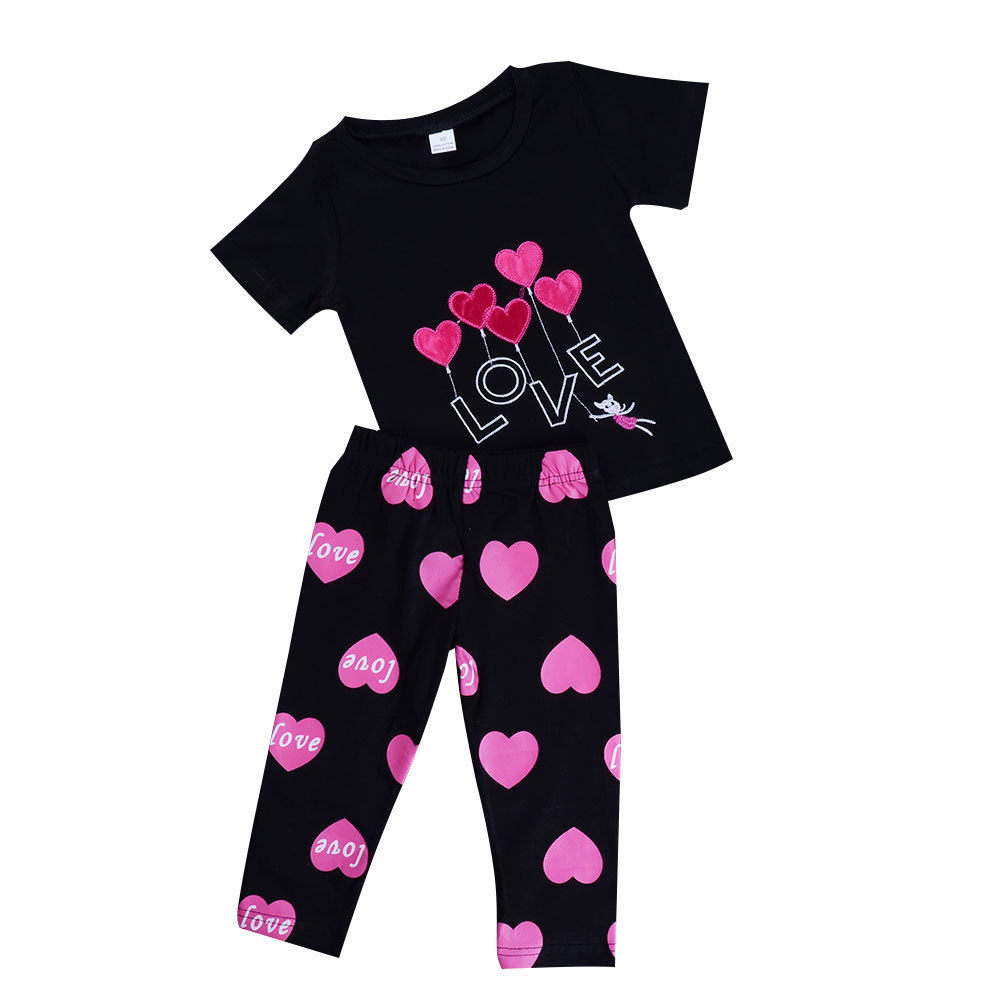 Girls Sportswear Trainning Sets Summer 2Pcs Short Sleeve TShirt + Pants Exercise Suits Love Heart Letter Sporting Clothing Set